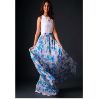 Casual Blue White Floral Print Gown With Flare