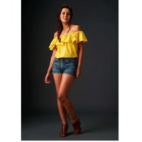 Casual Yellow Off-Shoulder Frilled Tops