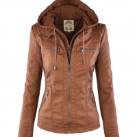Woman Removable Hoodie Faux Leather Jacket