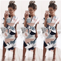 Ladies Casual Geometic Pattern Summer Dress