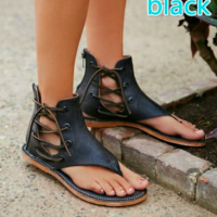 Faux Leather Short Gladiator Sandals
