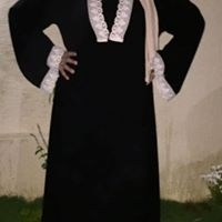 Black Abaya With White Lace