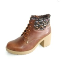 Tan Synthetic Leather Women Boots