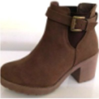 Brown Textile Women Boots