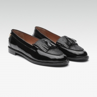 Carlton London Women Black Leather Loafers
