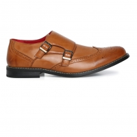 Men Shoes Tan Brown Solid Monk Footwear