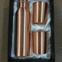 Copper Bottle And Glass Gift Set