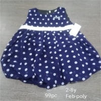 Polyster Dotted Girls Party Wear Frock