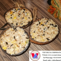 Coconut Shell Bird Food Container