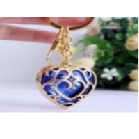 Navy Heartin Bounded Metal Keychain