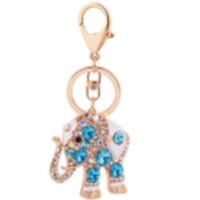 Blue Elephant Stone Metal Keychain