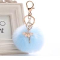 Blue Spongy Metal Keychain