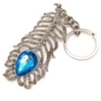 Feathery Blue Stone Metal Keychain