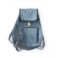 Denim Flap Backpack With No Padding