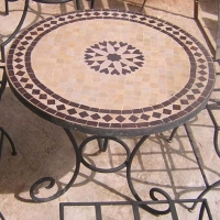 Moroccan Tile Zellige Mosaic Table On Iron Stand