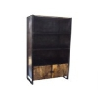 Metal And Wooden Open Cabinet