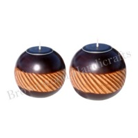 Wooden Tea Light Candle Holder Set of 2