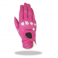 Golf Glove Color Pink Combined White Lycra