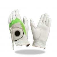 Golf Glove Color White Combined with Green Lycra