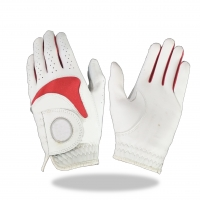 Golf Glove Color White Combined With Green Red