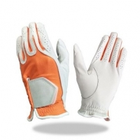 Golf Glove Color White Combined Orange Lycra