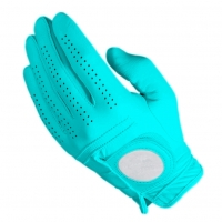 Golf Glove Full Leather Color Blue Cyan