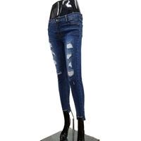 Women Ripped Blue Jeans