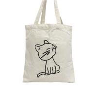 Natural Color Cute Cat Design Cotton Bag