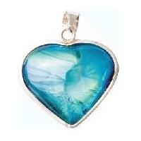 Aqua Aura Heart Pendant With Bezel