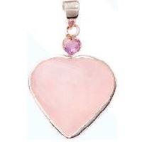Rose Quartz W Small Facetted Heart Pendant