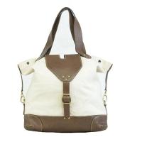 Canvas With Leather Trim White Ladies Handbag