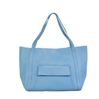 100% Genuine Leather Sky Blue Ladies Handbag
