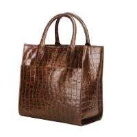 Croco Printed Genuine Leather Handbag