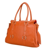 Orange Genuine Leather Ladies Handbag