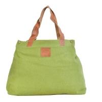 Canvas With Leather Trim Green Ladies Handbag