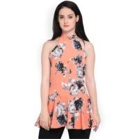 Elegore Women Peach-Coloured Printed Peplum Top