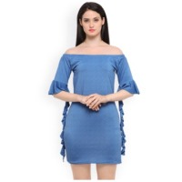 Elegore Women Blue Solid A-Line Dress