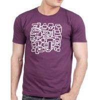 Mens round neck purple t-shirt