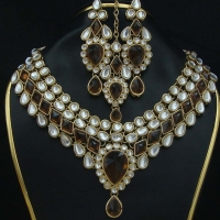Brass Alloy Kundan Jewellery Set