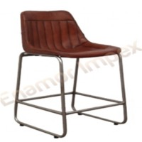 Bar Chair With Iron Frame And Leather Finish