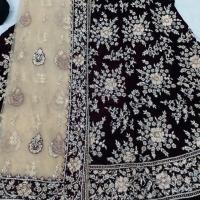 Velvet Hand Work Stitch Lehngas & Ghagras