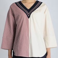 Half Stripe Detail Shirt