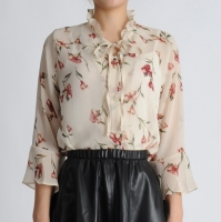 Ruffle Neck Flower Blouse