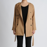 Half Gun Flap Collarless Jacket