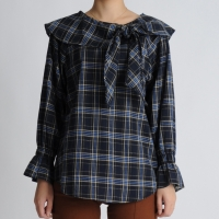 Ribbon Ruffle Check Blouse
