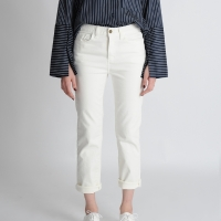 Gold Button Straight Jeans(White)