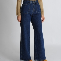 Rectangular Pocket Wide Jeans