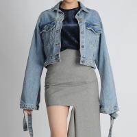 Sleeve Strap Short Denim Jacket