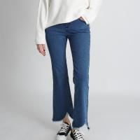 Destroyed Hemline Banding Jeans