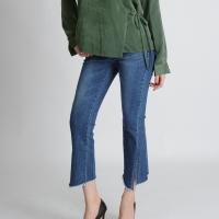 Asymmetrical Hemline Banding Jeans